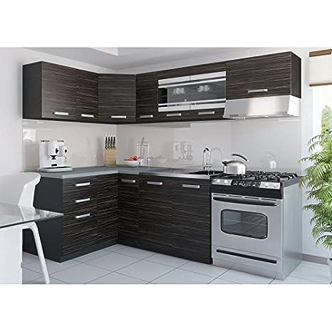 JUSThome Torino III L-Kuche Kuchenzeile Kuchenblock 130x230 cm Länge Griffvariante I