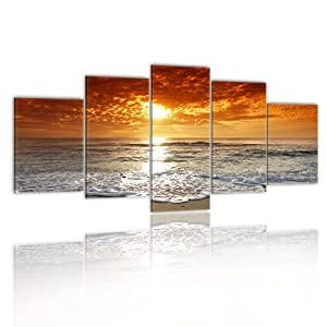 Bilder fertig aufgespannt top vlies leinwand 5 teilig sea wand bilder 051401 100x50 - Amazon wandbilder ...