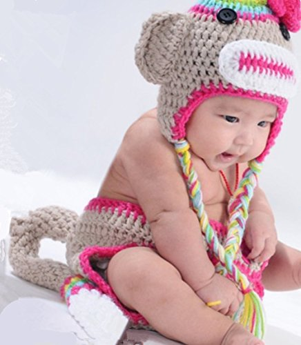 Cute Little Monkey Unisex Newborn Boy Girl Baby Outfits Knitted Photography Props