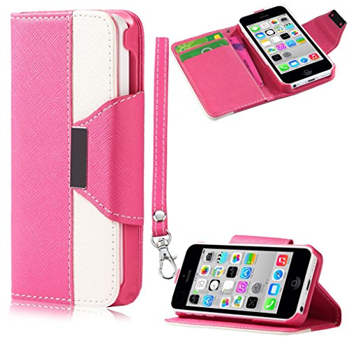 Mylife (Tm) Candy Shop Pink + Cool White {Modern Design} Faux Leather (Card, Cash And Id Holder + Magnetic Closing + Hand Strap) Slim Wallet For The Iphone 5C Smartphone By Apple (External Textured Synthetic Leather With Magnetic Clip + Internal Secure Sn