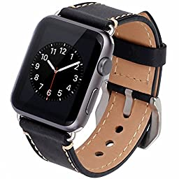 Apple Watch Band, Tirnga® Iwatch Genuine Leather Crazy Horse Handmade Vintage Replacement Watchband Straps Wrist Band with Classic Metal Clasp Buckle & Connectors & Sport & Edition 38mm Black