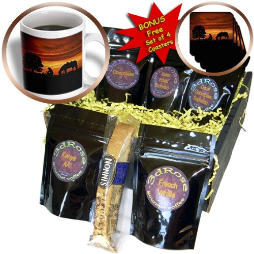 Cgb_173217_1 Doreen Erhardt Western - Cowboy Campfire With Horse On A Hill At Sunset Has A Western Feel. - Coffee Gift Baskets - Coffee Gift Basket