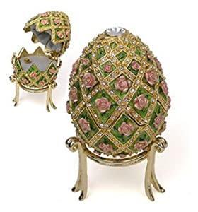Pricegems Gold Plated Ladies Swarovski Crystal 'Jeweled Rose' Trellis Music Box Faberge Reproduction 4.5