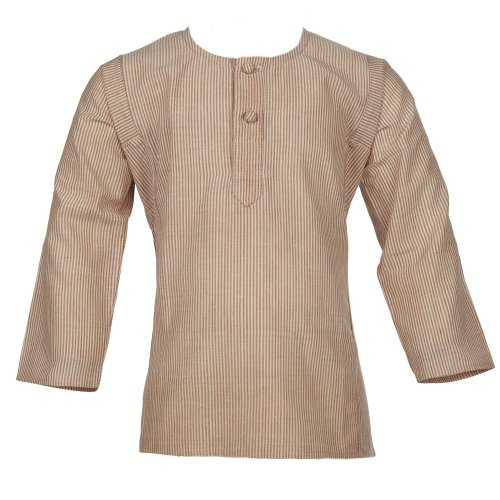 Bouton Kids Dark Red and Cream Stripe Cotton Tunic Shirt for Boys