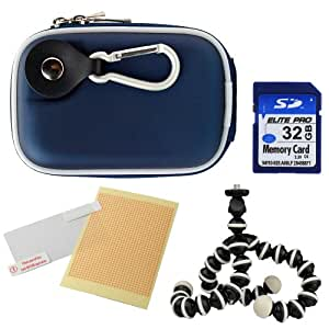 Vangoddy Compact Slim EVA Camera Case for Fujifilm FinePix Series Point and Shoot Digital Cameras + 32GB Memory Card + Mini Tripod + Screen Protector (Navy Blue)