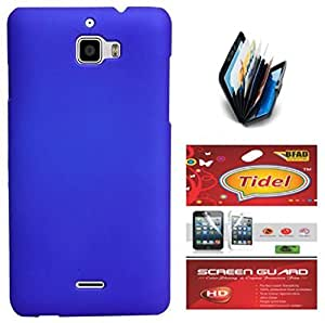 Tidel Stylish Rubberized Plastic Back Cover For Micromax A310 Canvas Nitro ( Blue ) With Credit Card & Cash Holder and Tidel Screen Guard