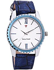 Swiss Grand SG-1149 Blue Coloured With Blue Leather Strap Analog Quartz Watch For Men
