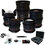 Rokinon Full Cine 5 Lens Kit - 35mm + 24mm + 14mm + 85mm + 8mm for Canon EF/Black Magic + Protective Photography Hard Case + Accessory Kit