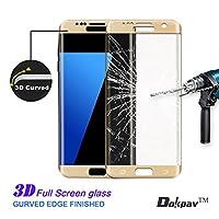 S7 Edge Screen Protector, Dokpav® Ultra Slim Samsung Galaxy S7 Edge 3D Tempered Glass Full Screen Protector, Protective Film Anti-scratch Anti-fingerprint for S7 Edge (Gold) from Dokpav