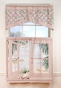 Island Retreat Trompe l'oeil Window Art 36 inch long Tier Curtains