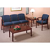 Transitional Reception Seating Group Avon Hunter Fabric/Cherry Finish