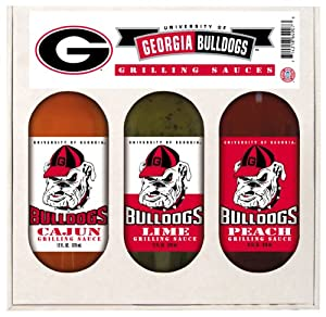 Georgia Bulldogs Grilling Gift Set 3-12 oz (Cajun, Lime and Peach) from Hot Sauce Harry's