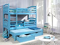 JACOB 3 Children Triple Bunk Bed - Pine Wood - 24 Colours - 2 Sizes - 4 Types of Mattresses