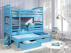 JACOB 3 Children Triple Bunk Bed - Pine Wood - 24 Colours - 2 Sizes - 4 Types of Mattresses