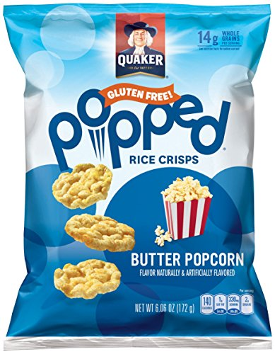 Quaker Popped Rice Crisp Snacks, Buttered Popcorn, 6.06oz Large Bag (Pack of 6 Bags) (Pop Rice compare prices)