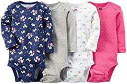 Carter\'s Baby Girls\' 4 Pack Print Bodysuits, Multicolor, 3M