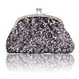 Damara Women's Paillette Antenna Style Fashion Simple Evening Bag Lady Medium Handbag,Grey