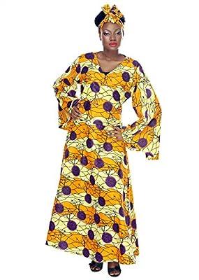 African Planet Women's Gele Printed Kente Wax Bell sleeves Headwrap Wrap Around