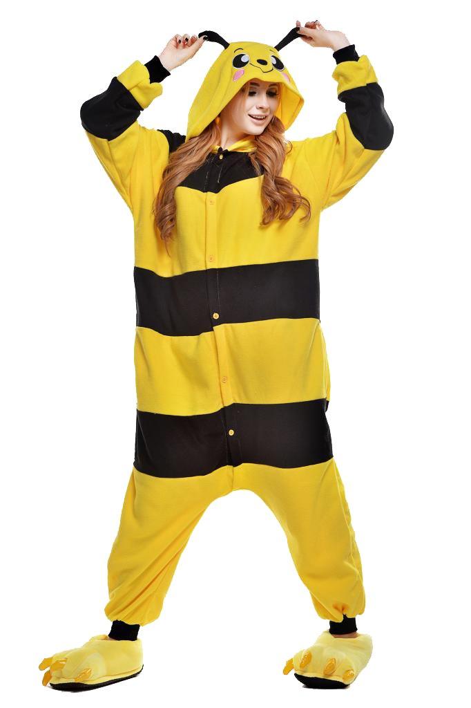 Unisex Bumble Bee Pajamas Kigurumi Halloween Onesie Costume Men Women Festival