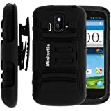 MINITURTLE, 2 in 1 Hybrid Dual Layer Armor Phone Case Cover with Kickstand, Holster Belt Clip, and Screen Protector for Prepaid Android Smartphone ZTE Sonata Z740G and ZTE Radiant Z740 /AIO Wireless, /AT&T GoPhone (Black)