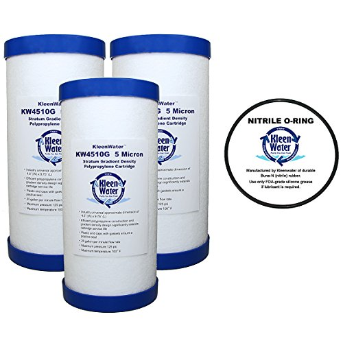 Culligan HD-950A Sediment Water Filter Replacement Cartridges, 5 Micron (3) with OR-100 Compatible O-Ring by KleenWater