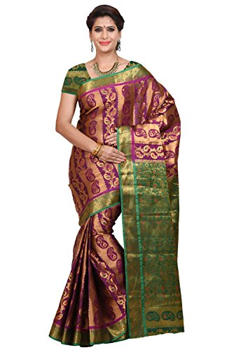 Mimosa Women's Traditional Art Silk Saree Kanjivaram Style With Blouse Color:Rani(3348-79-DC-BL-RNI-GRN )  available at amazon for Rs.1399
