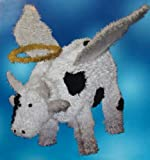 """30"""" Pre-Lit LED Outdoor Chenille Angel Cow Christmas Yard Art Decoration"""