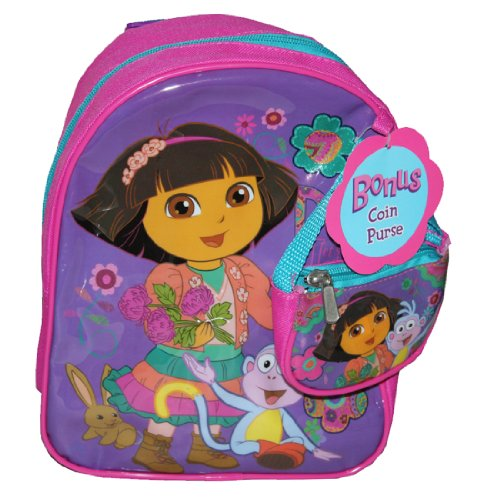 "Dora the Explorer & Boots the Monkey 10"" Toddler Backpack Bonus Coin Purse"