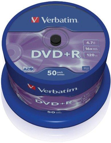 Verbatim DVD+R 16x Speed, confezione da 50