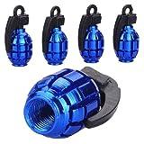 4 Pcs Set Grenade Shaped Car Tyre Air Valve Cap - Blue