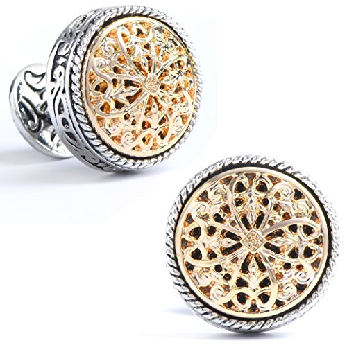 Men's Vintage Silver & 18K Gold Celtic Cross Filigree Floral Cufflinks, for Wedding, Bussiness, Gift Box Included