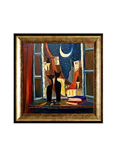 Justyna Kopania Night (Cats with Moon) Framed Canvas Print, Multi, 31 x 31
