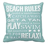 Cotton Linen Square Decorative Throw Pillow Case Cushion Cover Simple Words Beach Rules Holiday Gifts 18
