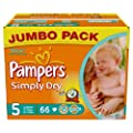 Pampers Simply Dry Size 5 (Junior) Jumbo 2 x Packs of 66 Nappies--132 Nappies