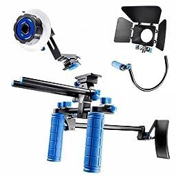 SunSmart DSLR Rig video camera Shoulder Mount Kit including DSLR Rig shoulder support, Follow Focus, Matte Box and Top Handle for All DSLR Video Cameras and DV Camcorders