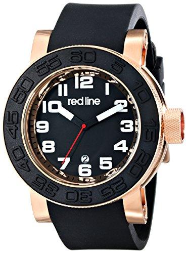 Red Line Men's Xlerator 52mm Black Silicone Band Steel Case Quartz Date Analog Watch 50051-RG-01