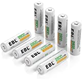 EBL® 8 Pack High Capacity 2800mAh AA Ni-MH Rechargeable Batterie, 1500 Cycle