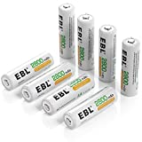 EBL® 8 Pack High Capacity 2800mAh AA Ni-MH Rechargeable Batterie 1500 Cycle