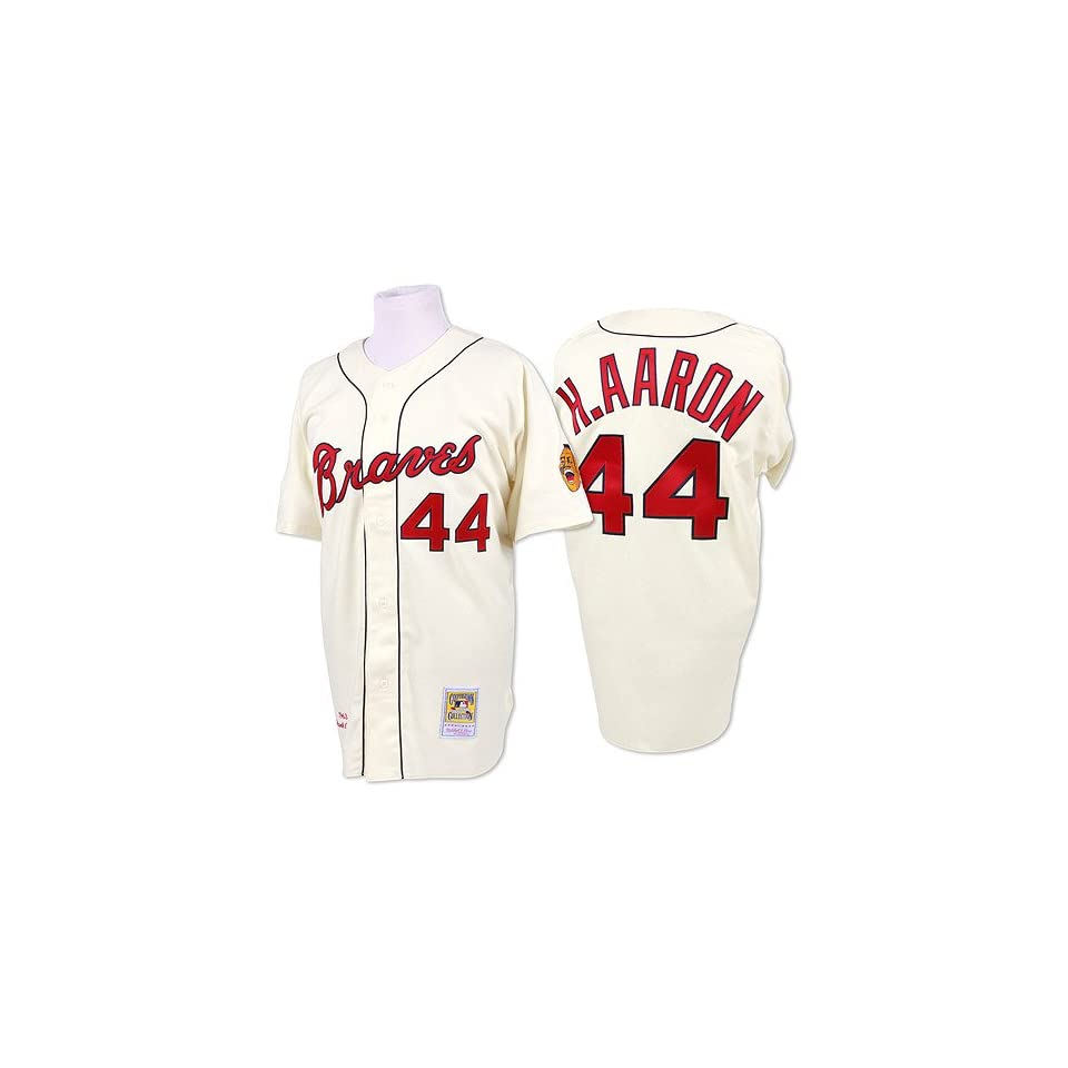 3bedd0e5 Milwaukee Braves Authentic 1963 Hank Aaron Home Jersey by Mitchell & Ness