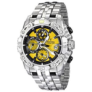 Festina Men's Silver Stainless-Steel Watch Yellow Dial Chronograph F16542/6