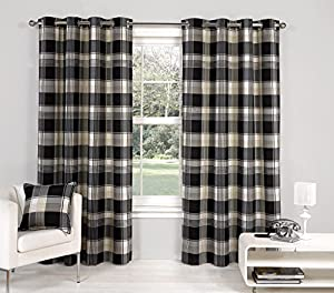 """Black Paisley Scottish Lined Ring Top Tartan Plaid Checked Curtains 66"""" X 90"""" from PCJ Supplies"""