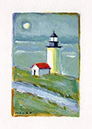Little Lighthouse Is a Giclee Print of an Original Painting, Classic American Lighthouse, 10 X 13 Inches