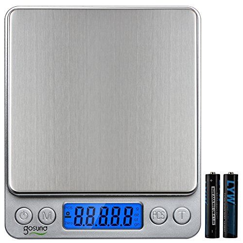 Gosund Portable Digital Kitchen Scale for Jewelry Backlit Display Refined Accuracy 0.1g/0.005oz Maximum Weight 3000g/105.82oz Stainless Steel (Silver) (Cheap Baking Scale compare prices)
