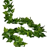 RURALITY 8 Ft Artificial Silk Greenery Chain Ivy Wedding Garland ,Sweet Potato Leaf Pack of 2