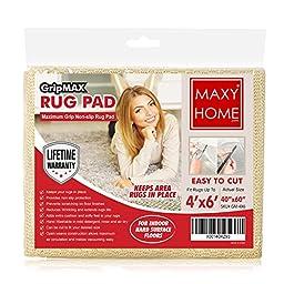 Non Slip Rug Pad    GripMax Premium Anti Slip Rug Pad for under Area Rugs Carpets Runners Doormats on Wood Hardwood Floors 2x4 2x8 3x5 4x6 5x8 6x9 8x14 -    4x6   