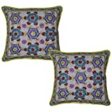 Ethnic Thread Embroidered Handmade Cotton Cushion Cover 17 Inches 2 Pcs - B00JVQ42SA