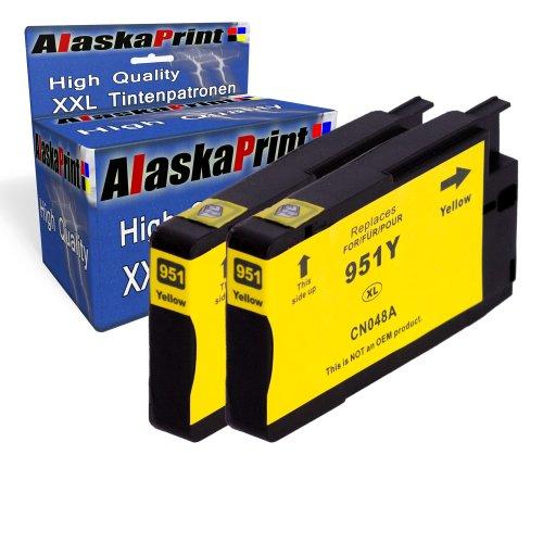 2x Druckerpatrone Ersatz für Hp 1x 951 XL Original alaskaprint Tinte Yellow, je 1.500 Seiten Leistung Ersatz für Hp CN048AE ( 951 xl , HP 951 XL ) , Gelb