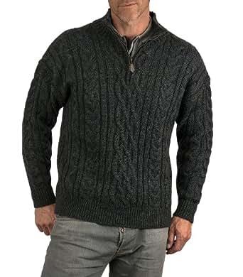 Wool Overs Pull irlandais à fermeture éclair homme en laine Anthracite XS