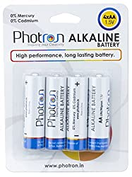 Photron High Performance AA Alkaline Battery 4 Pack, Anti-Leak Protection, PHT-ALK-BP4AALR6 / LR6/MIGNON 1.5V - Total 4 AA BATTERIES
