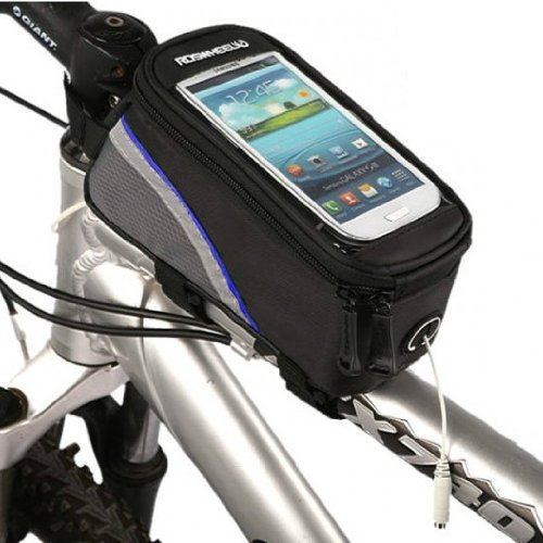 Weanas Roswheel Cycling Bike Bicycle Frame Pannier Front Top Tube Bag Large Waterproof For Iphone Samsung 4.8 Inch Mobile Cell Phone Blue Black front-862399